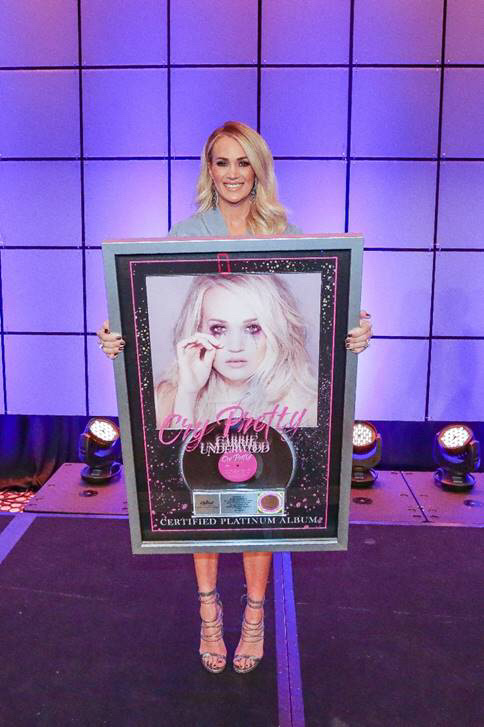 Underwood surprised with her Certified Platinum Album, Cry Pretty  Photo Credit: Country Radio Seminar 2020/Kayla Schoen
